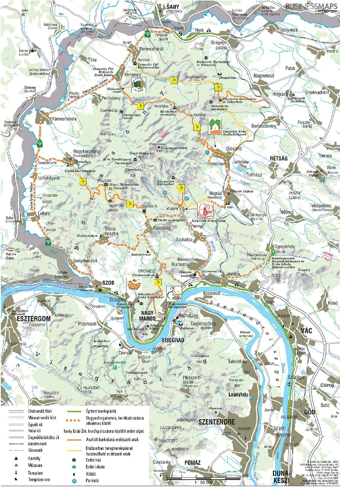 Börzsönyi kerékpáros térkép