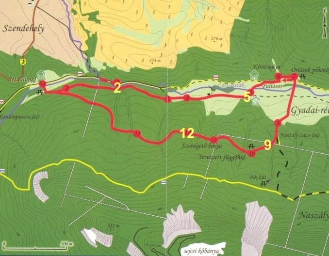Gyadai-tanösvény térképe